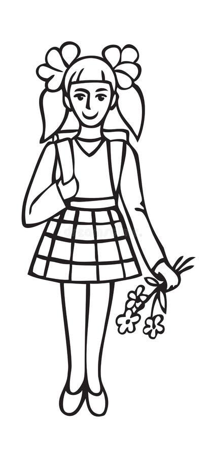 Ilustracyjna uczennica z kwiatami ilustracja wektor