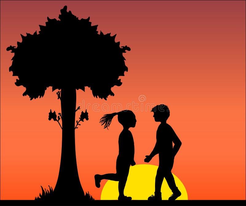 Ilustracyjna wektorowa czarna sylwetka kochankowie Dobiera się w miłości mężczyzna i kobieta pod drzewem, sentymentalnym, kwitnie zdjęcia stock
