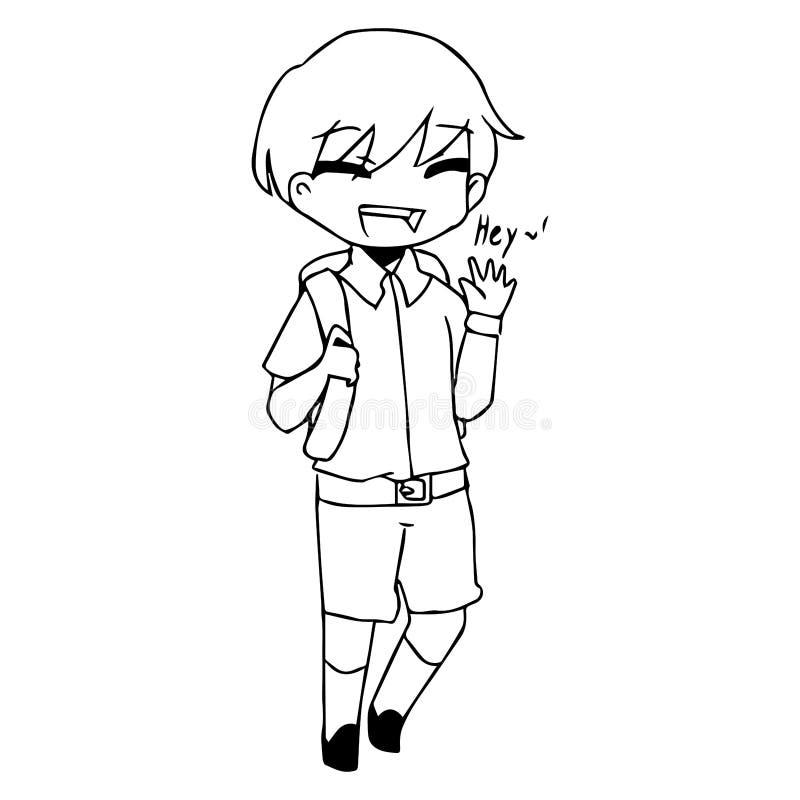 Ilustracyjna wektorowa ręka rysujący doodle mówi piekło uśmiechnięta chłopiec royalty ilustracja