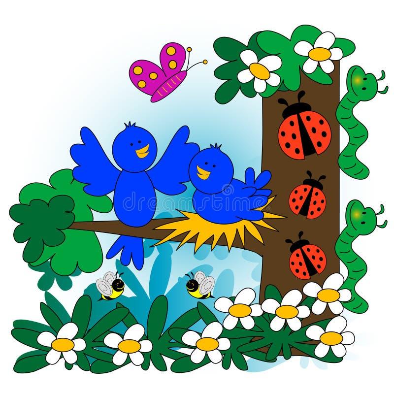 ilustracyjna wiosna ilustracji
