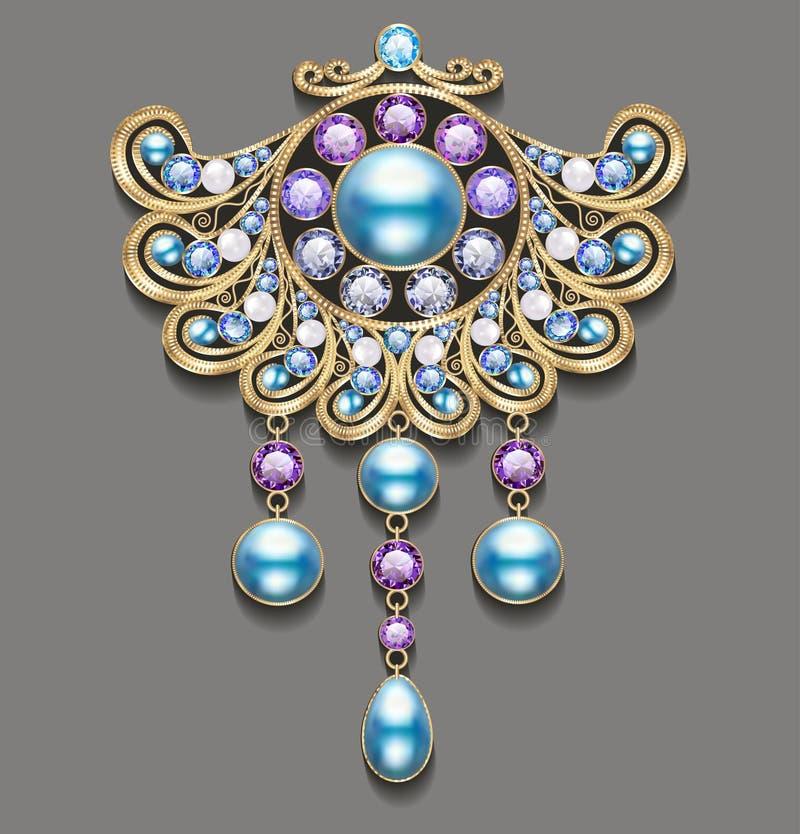 Ilustracyjna złocista broszka z perłami i cennymi kamieniami ilustracji