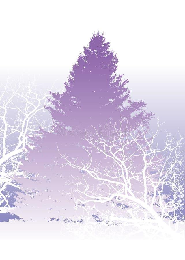 ilustracyjna zimy drzew ilustracji