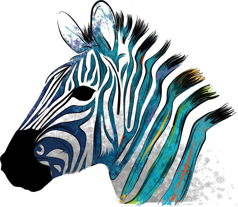 Ilustracyjna zwierzęca zebra z akwarela lampasami w tle ilustracji