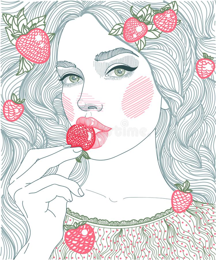 ilustracyjne grafiki dziewczyny łasowania truskawki ilustracja wektor