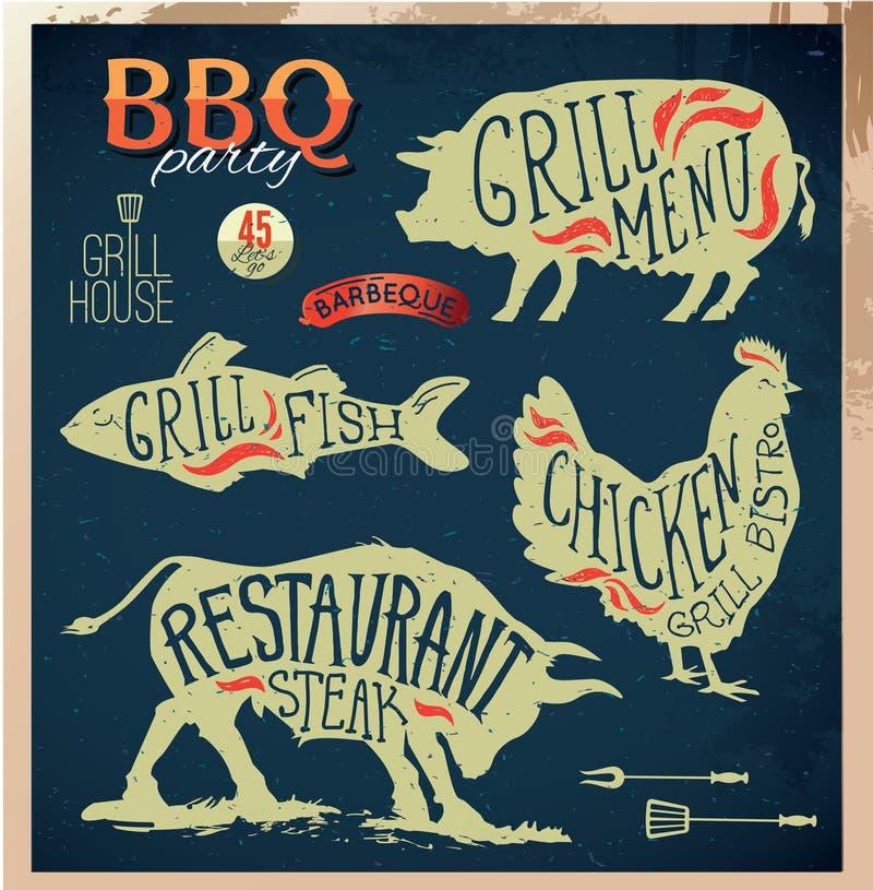 Ilustracyjne grilla menu etykietki Ustawiać Płaski projekta styl w ilustracji