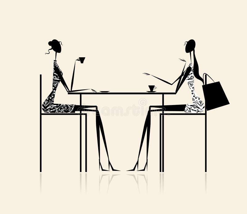 ilustracyjne mod cukierniane dziewczyny ilustracji
