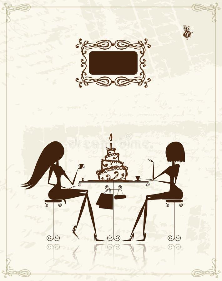 ilustracyjne mod cukierniane dziewczyny ilustracja wektor