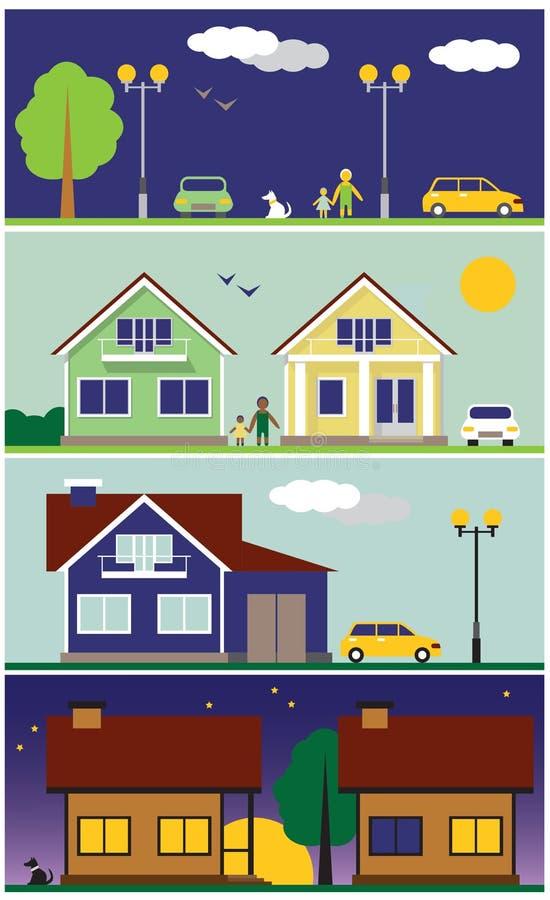 Ilustracyjne ulicy i domy ilustracji