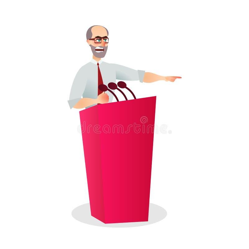 Ilustracyjnego Gniewnego mężczyzny mikrofonu Obcojęzyczny podium royalty ilustracja