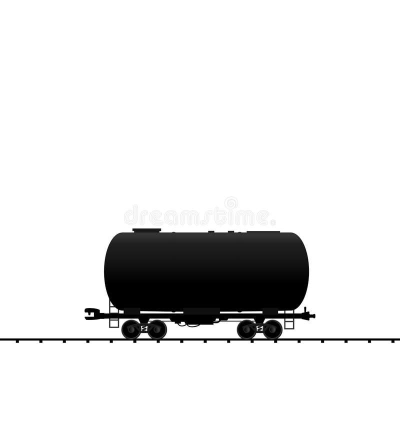 Ilustracyjnego ponaftowego spłuczka furgonu linii kolejowej frachtowy pociąg, bla ilustracja wektor