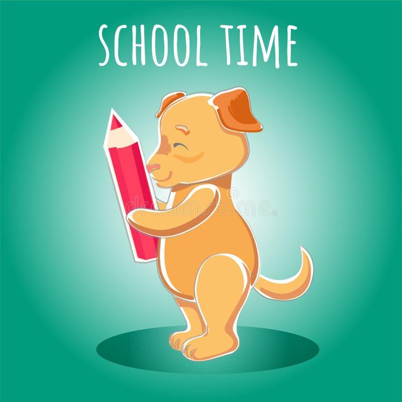 Ilustracyjnego Szczęśliwego psiego chwyta czerwony ołówek w łapy szkoły czasie ilustracja wektor