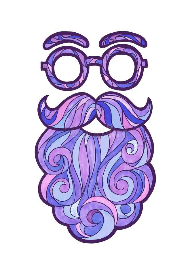 ilustracyjnego wąsy modnisia modny styl, kędzierzawa broda i round szkła, royalty ilustracja