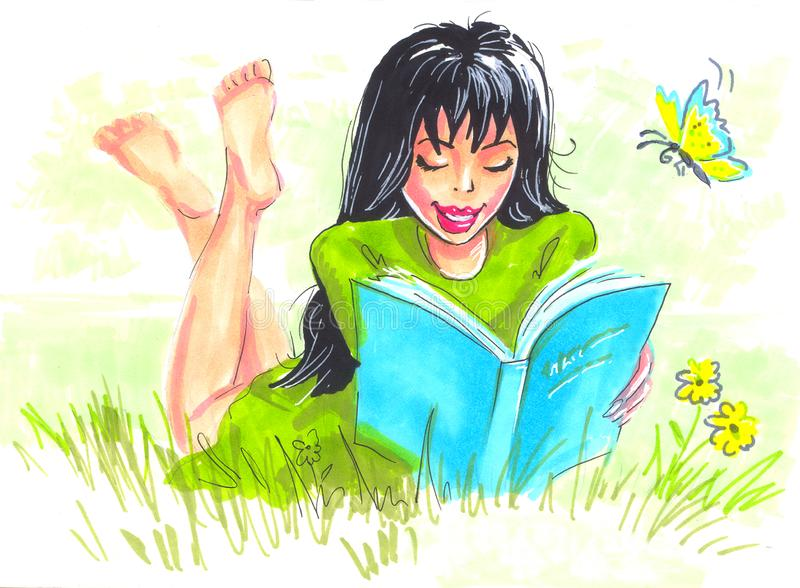 Ilustracyjnej kobiety czytelnicza książka w naturze ilustracji