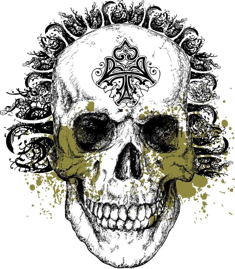 ilustracyjnej punkowej plemienny niegodziwy czaszki ilustracja wektor