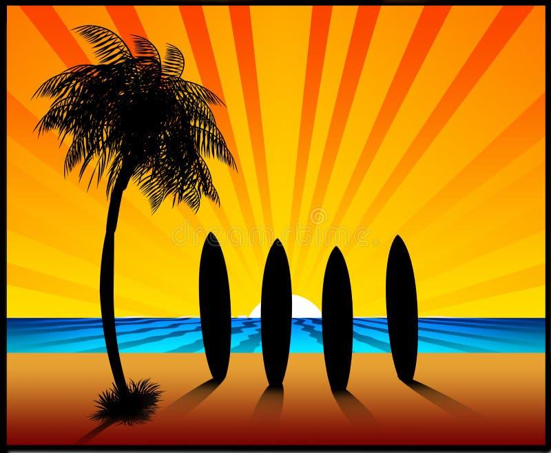 ilustracyjni deski surfingowe sunset ilustracja wektor
