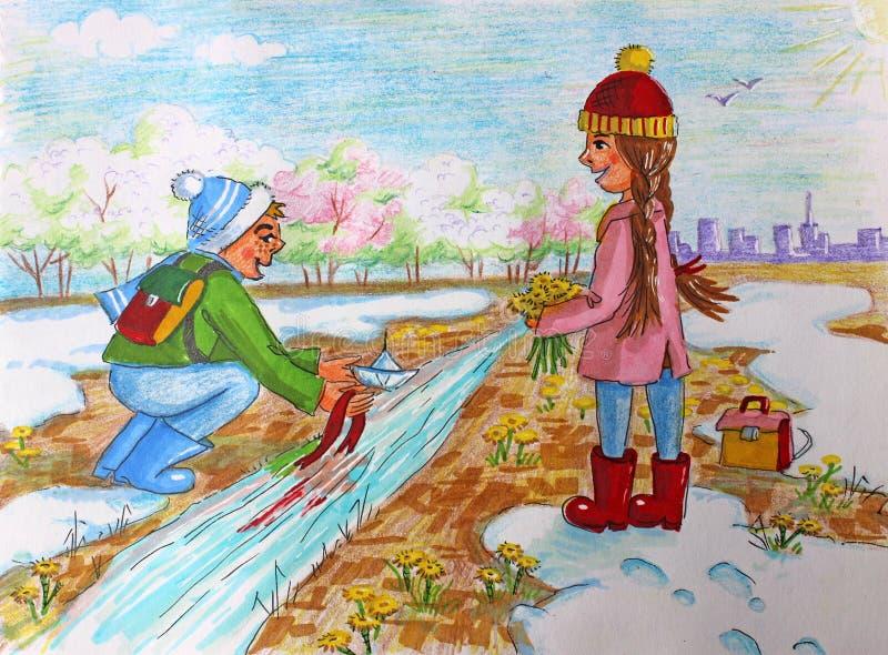 Ilustracyjni dzieci pozwalali łódź w wiośnie ilustracja wektor