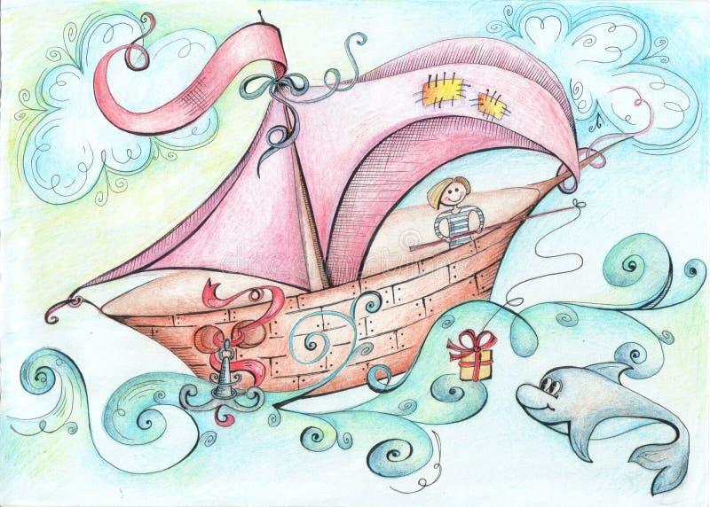 Ilustracyjni fantastyczni łódkowaci pławiki na oceanie na pokładzie mężczyzna rzucali prezent dla delfinu połowu prącia ilustracji