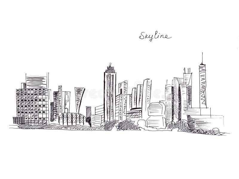Ilustracyjni nakreślenie punkty zwrotni miasto linia horyzontu z wysokimi drapaczami chmur i innymi budynkami royalty ilustracja