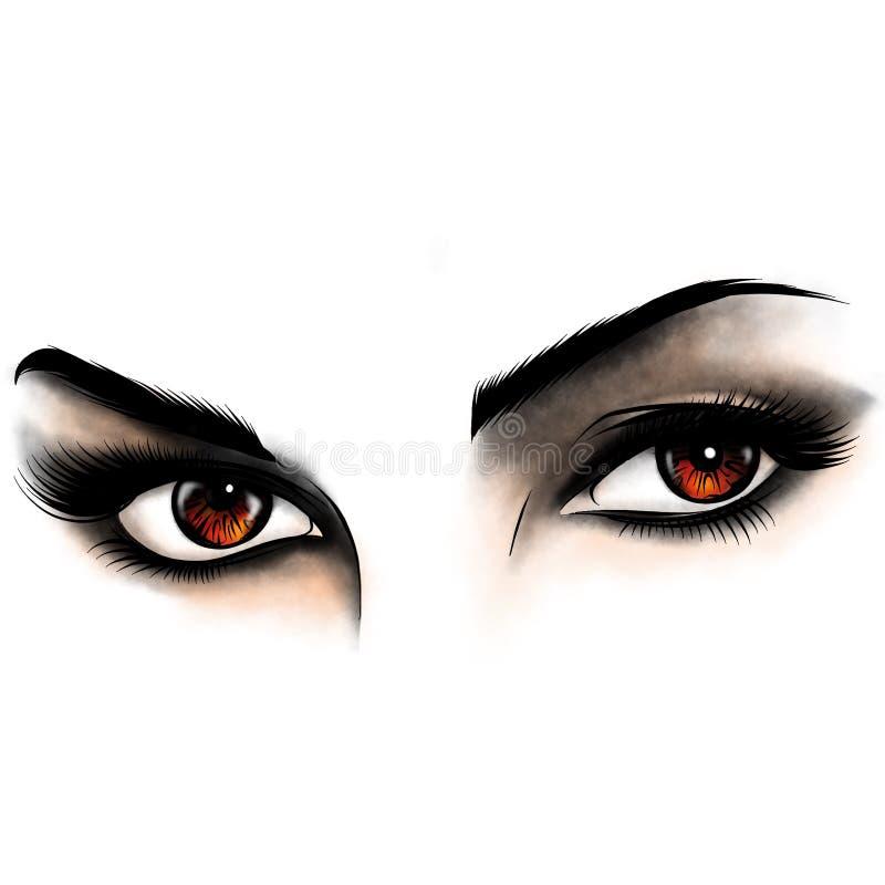 Ilustracyjni Piękni kobiet oczy z uzupełniali zdjęcie royalty free