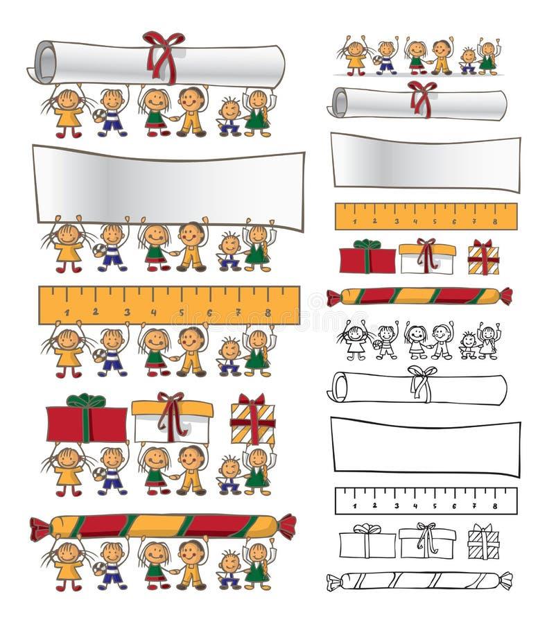 Ilustracyjni przyjaźni dzieci chwyta przedmioty royalty ilustracja