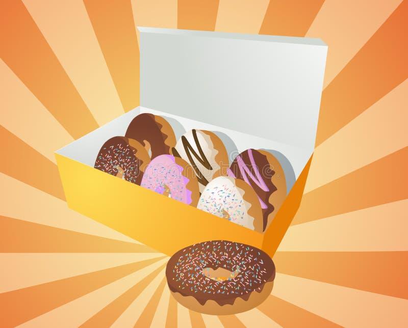 ilustracyjni pudełkowaci donuts ilustracja wektor