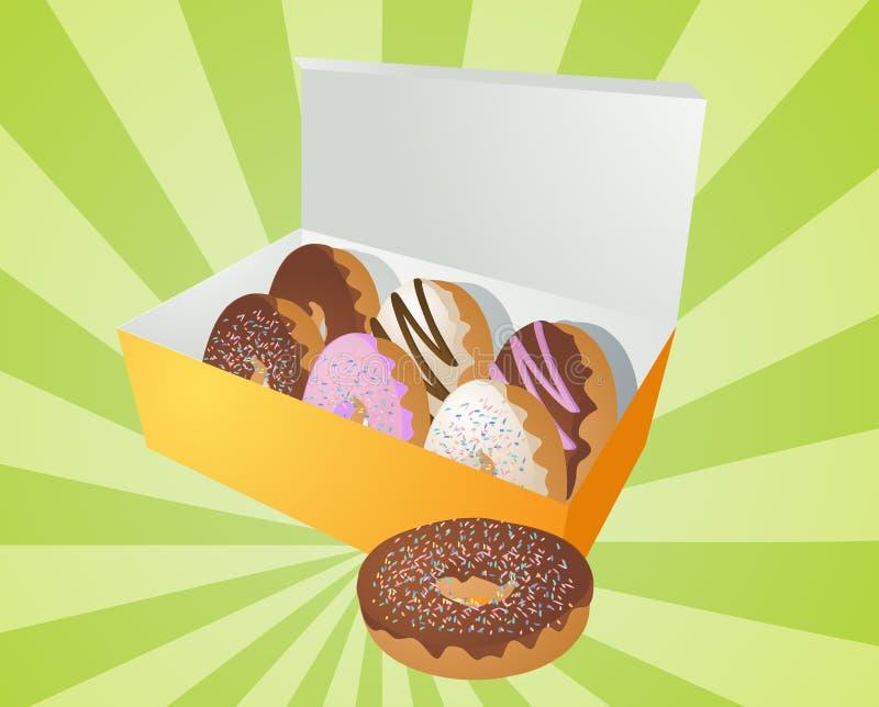 ilustracyjni pudełkowaci donuts royalty ilustracja