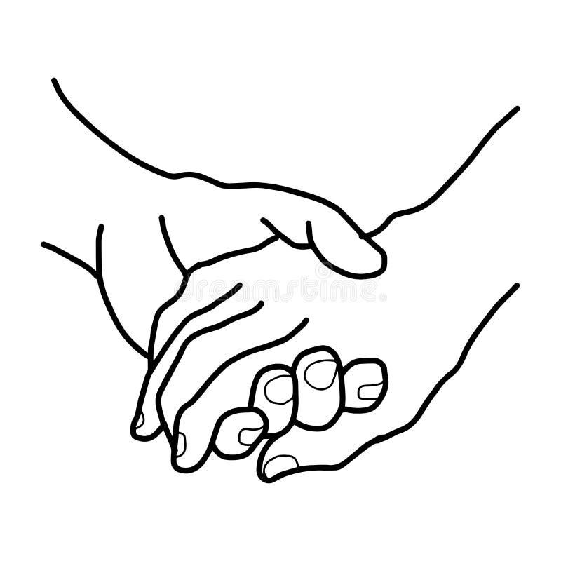 Ilustracyjni wektorowi doodles wręczają patroszonej kobiety i męskiej osoby royalty ilustracja