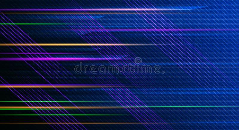 Ilustracyjny Abstrakcjonistyczny jarzyć się, neonowy lekki skutek, lampas linii wzór Wektorowego projekta komunikacyjny techno na ilustracji