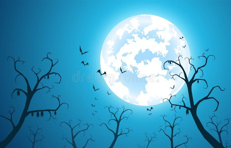 Ilustracyjny błękitny tła i festiwalu Halloween pojęcie, dużo uderza na drzewie z księżyc w pełni na ciemnej nocy royalty ilustracja