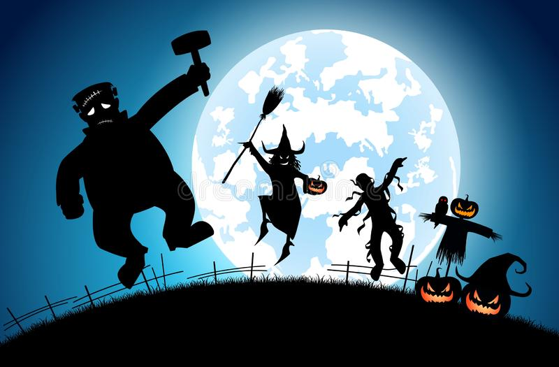 Ilustracyjny błękitny tła pojęcie, wiele ludzie z mężczyzna i kobiety jest ubranym jako, duch i diabeł dla festiwalu Halloween royalty ilustracja