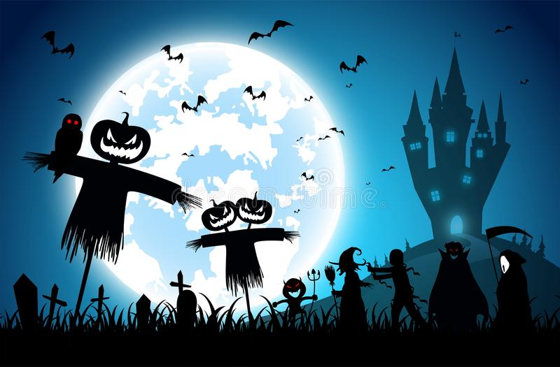 Ilustracyjny błękitny tło, festiwalu Halloween pojęcie, księżyc w pełni na ciemnej nocy z wiele duch ilustracja wektor