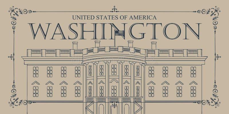 Ilustracyjny bielu dom, washington dc z flag? ilustracja wektor