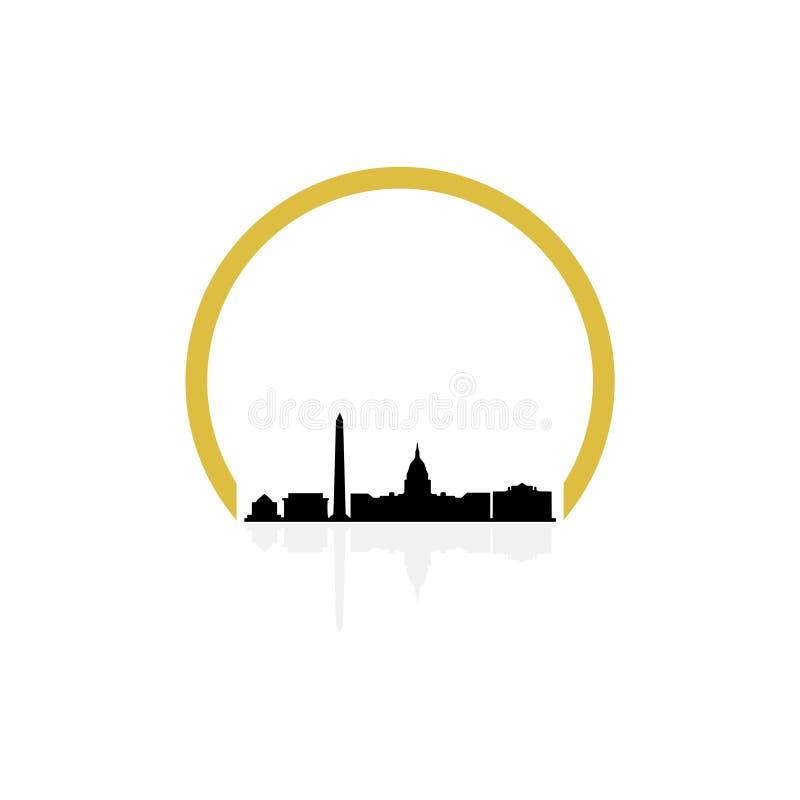 Ilustracyjny bielu domu Washington dc, Capitol budynku logo ilustracja wektor