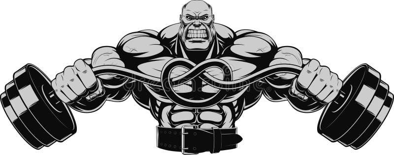 Ilustracyjny bodybuilder z dumbbell ilustracji