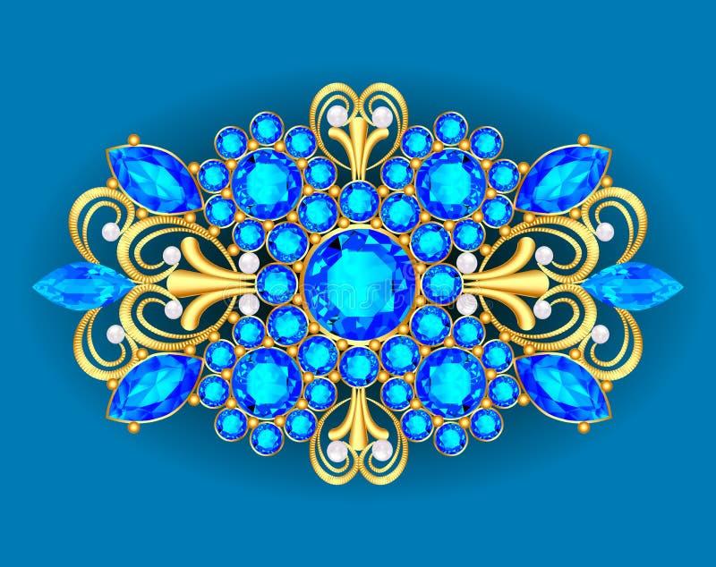 Ilustracyjny broszka breloczek z i cenni kamienie _ ilustracja wektor