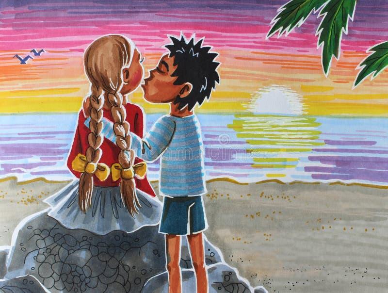 Ilustracyjny buziak na plaży ilustracji