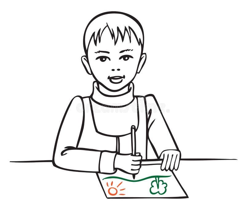 Ilustracyjny chłopiec rysunek royalty ilustracja