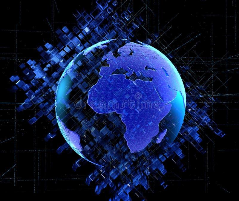 Ilustracyjny cyfrowy abstrakcjonistyczny technologia obwodu tło miastowi cyfrowi 3D extrude kwadrata abstrakcjonistyczny błękitny ilustracja wektor