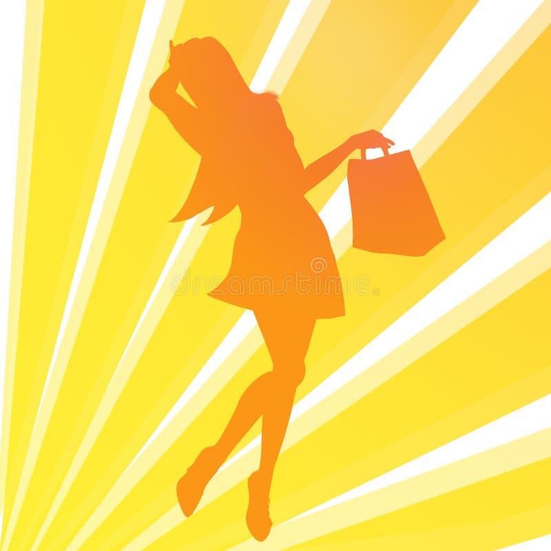 ilustracyjny dziewczyna zakupy obraz stock