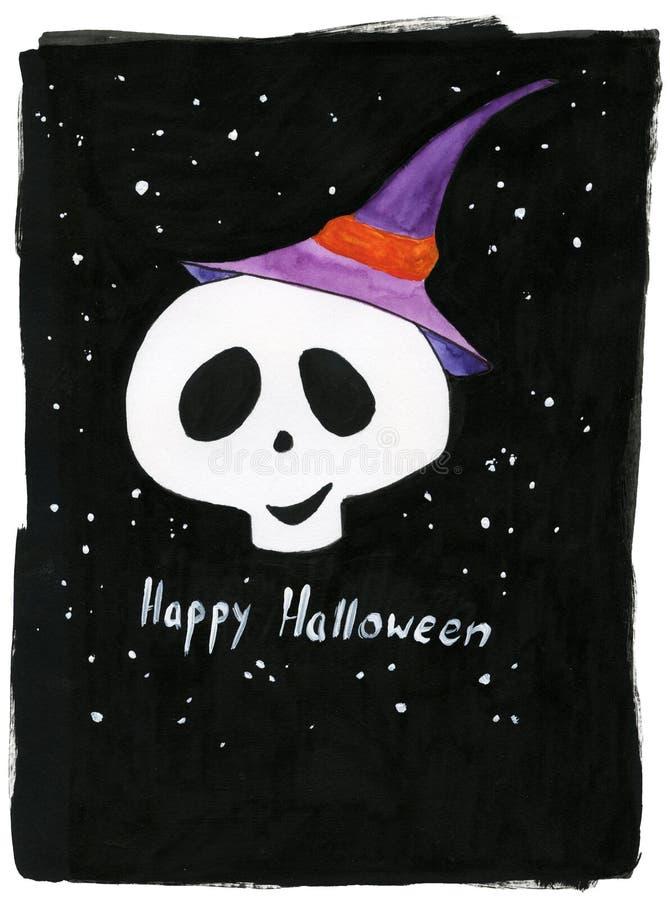 Ilustracyjny Halloween, cukrowa czaszka, czarownicy ` s kapelusz, nocne niebo, gra główna rolę zdjęcia royalty free