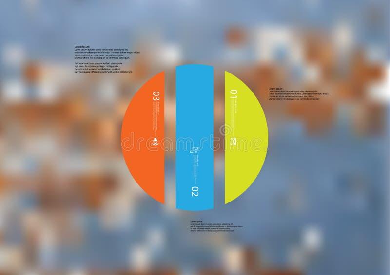 Ilustracyjny infographic szablon z okręgiem pionowo dzielącym trzy kolor standalone części ilustracji