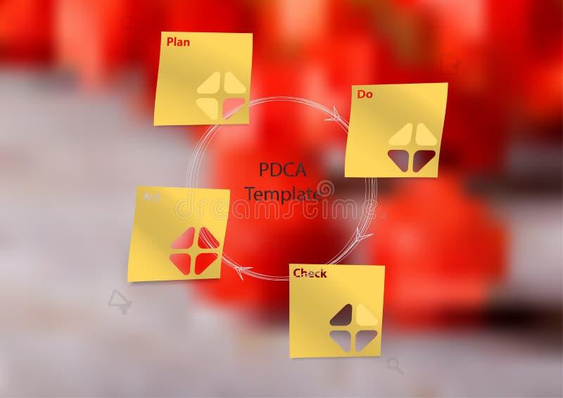 Ilustracyjny infographic szablon z PDCA metodą tworzył cztery majcherami ilustracja wektor