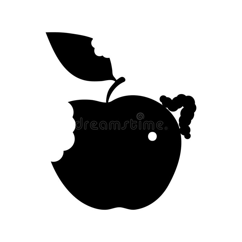 ilustracyjny jabłko, gąsienica, liść ikona royalty ilustracja