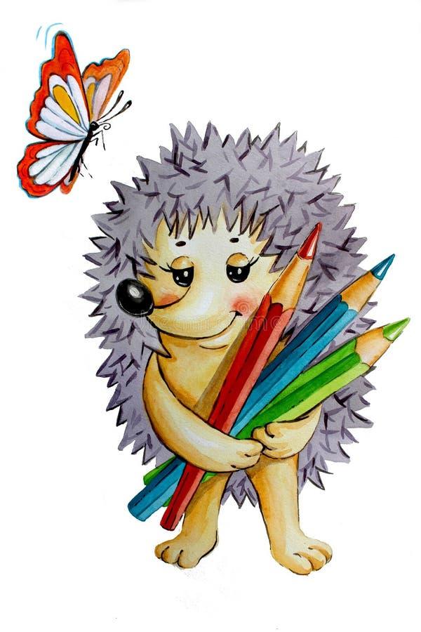 Ilustracyjny jeż z ołówkami i motylem royalty ilustracja