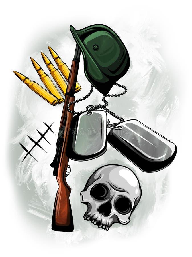 Ilustracyjny karabin, hełm, czaszka, wojskowych talerze i pociski, royalty ilustracja