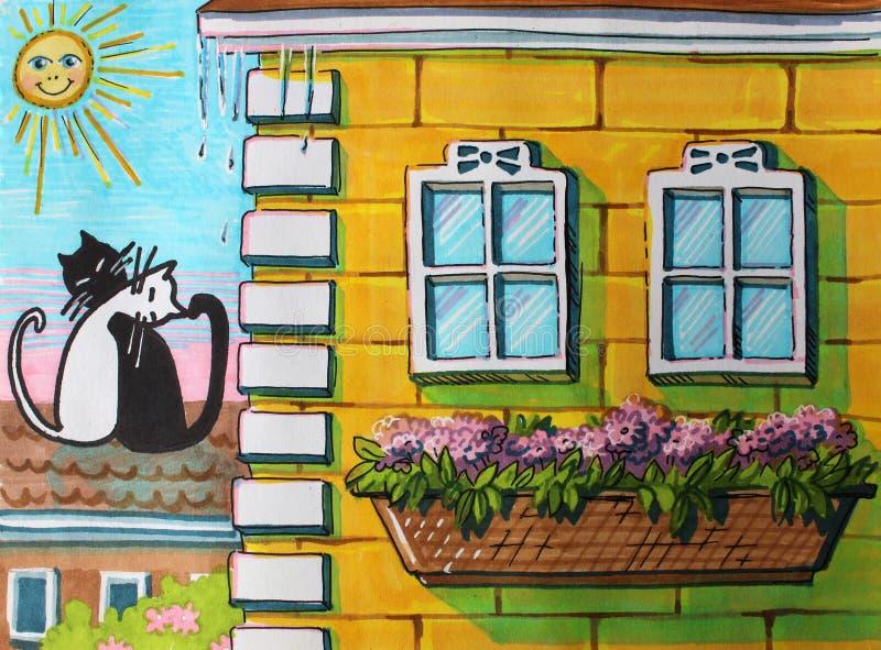 Ilustracyjny kot na dachu dom w wiośnie ilustracja wektor