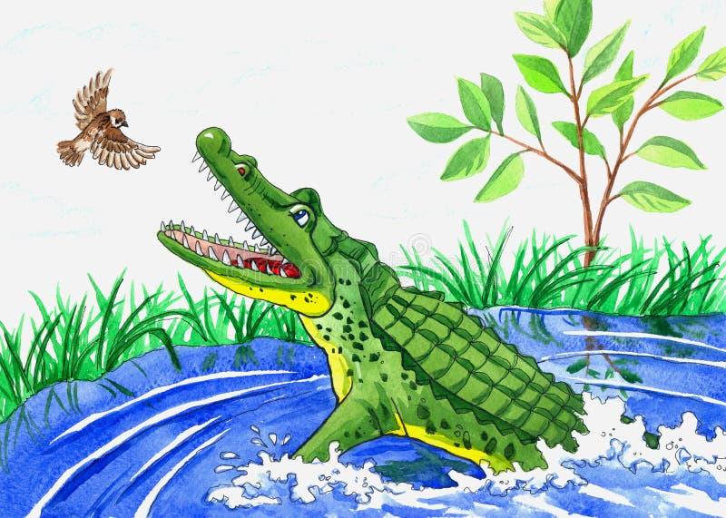 Ilustracyjny krokodyl i ptak royalty ilustracja