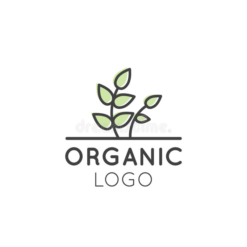 Ilustracyjny logo dla Organicznie weganinu Zdrowego sklepu lub sklepu ilustracji