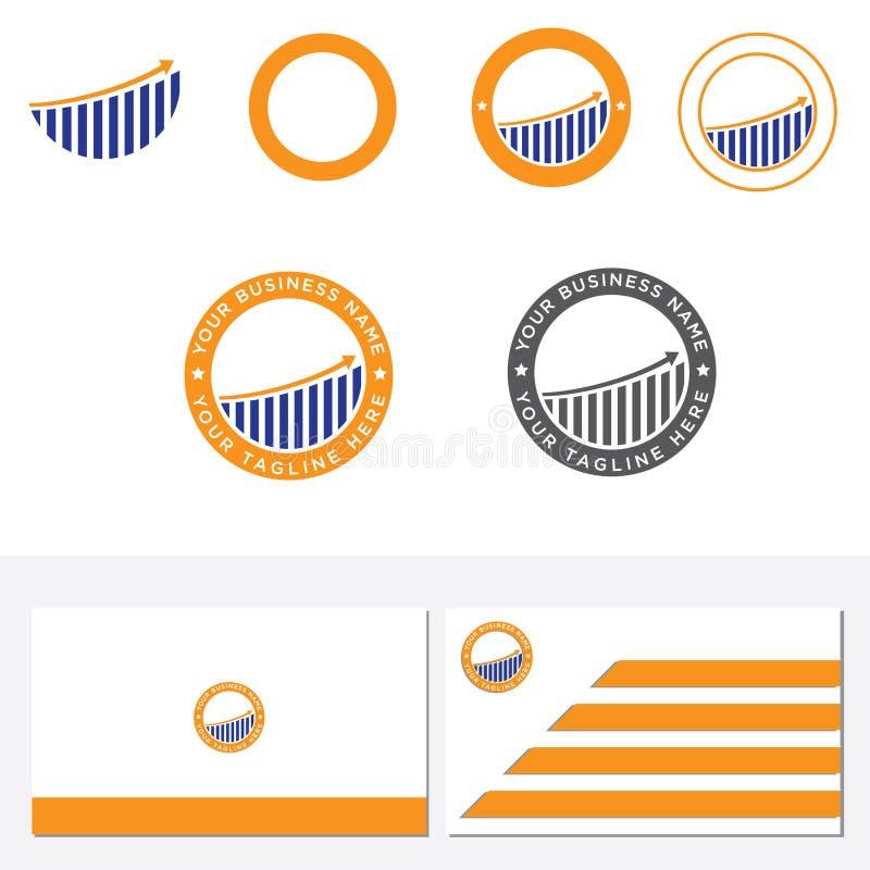 Ilustracyjny logo symbol biznesowa firma w postaci okręgu z wykresem który wzrasta od lewej do prawej wraz z a ilustracja wektor