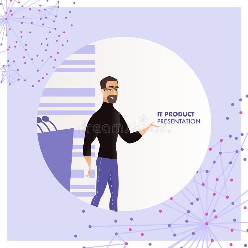 Ilustracyjny mężczyzna Reprezentuje IT produktu prezentację ilustracji